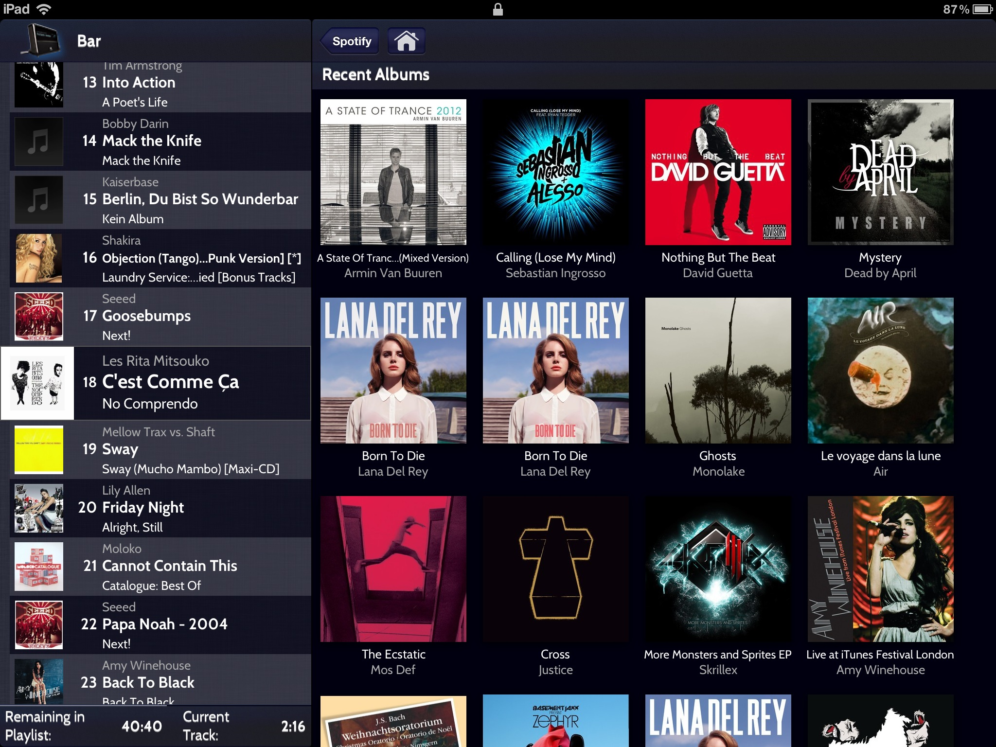 List of Albums on iPad