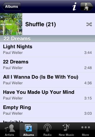 Albums Tracks in iPeng 1.1
