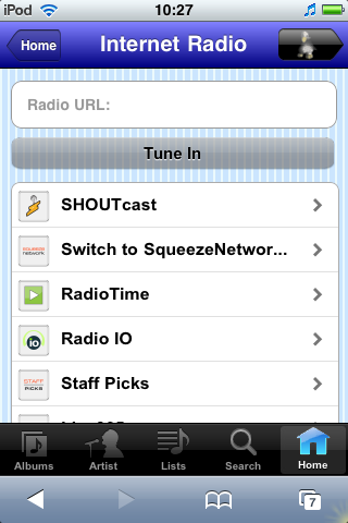 Internet Radio Menu